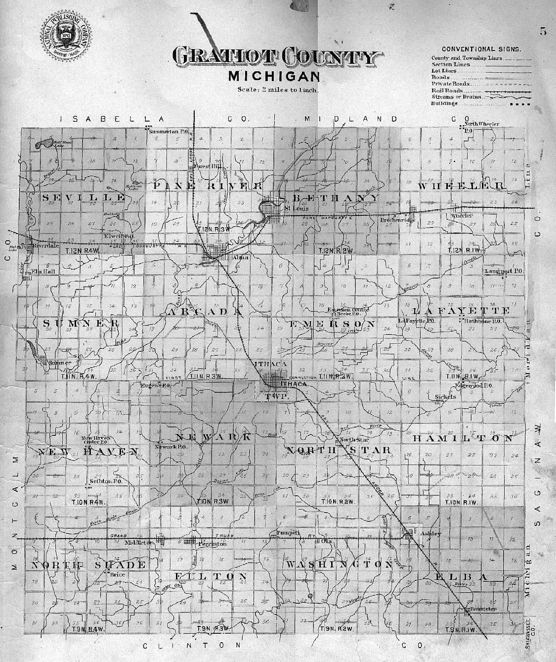 Michigan gratiot county breckenridge - Gratiot Co With Townships Towns And Other Small Geographical Markers